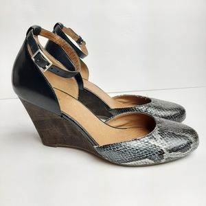 Clarks Snakeskin Ankle Strap Wedge Heels Leather 8